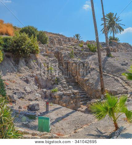 Ancient plastered pool reservoir in the City of Megiddo at Tel Megiddo National Park. Israel, Asia stock photo