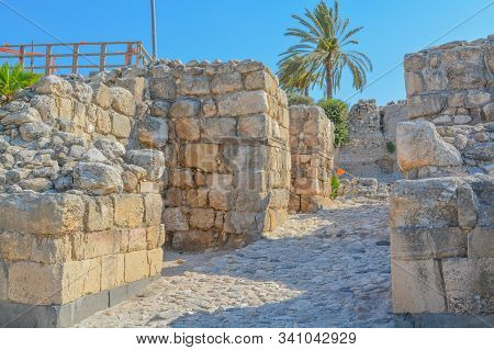 Canaanite City Gate at the City of megiddo in Tel Megiddo National Park. Megiddo, Israel, Asia stock photo