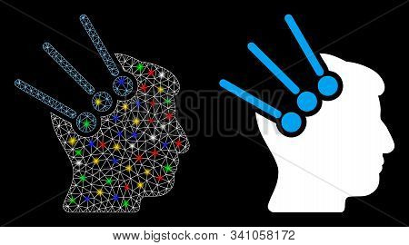 Glossy mesh neural interface connectors icon with glare effect. Abstract illuminated model of neural interface connectors. Shiny wire frame triangular mesh neural interface connectors icon. stock photo