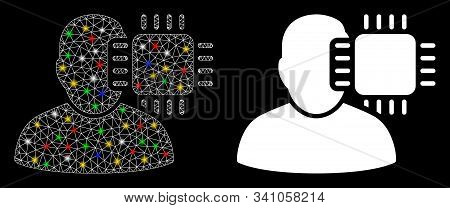 Glossy mesh neuro interface icon with sparkle effect. Abstract illuminated model of neuro interface. Shiny wire carcass polygonal mesh neuro interface icon. Vector abstraction on a black background. stock photo
