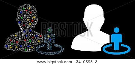 Flare mesh portal moderator icon with glare effect. Abstract illuminated model of portal moderator. Shiny wire frame polygonal mesh portal moderator icon. Vector abstraction on a black background. stock photo