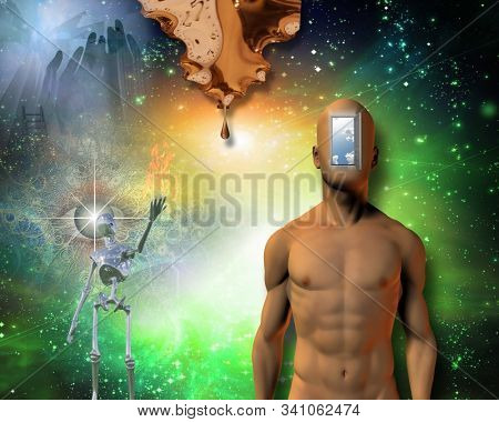 Man with open mind. Moment of creation. 3D rendering stock photo