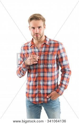 Be casual be yourself. Caucasian guy isolated on white. Handsome man in casual wear. Casual fashion trends. Fashion and style. Feeling comfortable in casual wear. stock photo