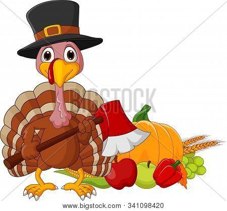Vector illustration of Cartoon turkey holding axe with harvest cornucopia collection stock photo