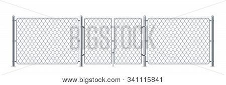 Metal enclosure with wire or police fence, chain link obstacle for prison or iron background with wicket or gate, chained cage or keep, fighting border or criminal obstacle, steel wall. Chainlink stock photo