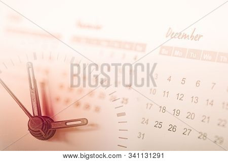 double exposure of analog clock and calendar , time passing concept stock photo