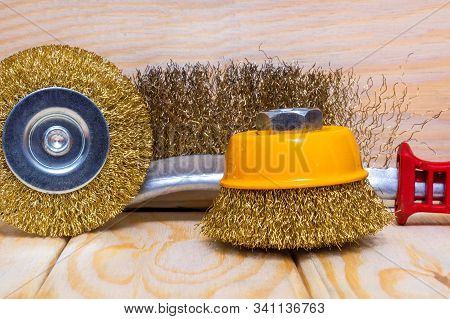 Set of abrasive tools and sandpaper for construction on wooden boards wizard is used for grinding items stock photo
