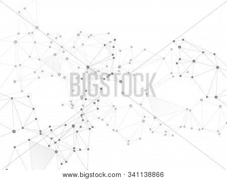 Block chain global network technology concept. Network nodes greyscale plexus background. Linked dot nodes and lines low poly. Global data exchange blockchain vector. Bionic ai innovations graphics. stock photo