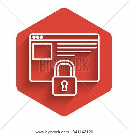 White line Secure your site with HTTPS, SSL icon isolated with long shadow. Internet communication protocol. Red hexagon button. Vector Illustration stock photo
