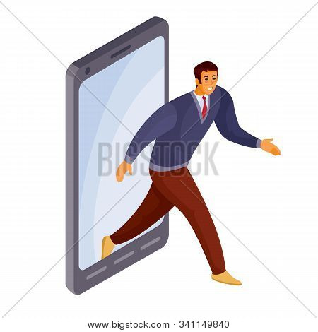 a man gets out of the phone, he found what he was looking for and got there where he wanted, isolated object on a white background, vector illustration stock photo