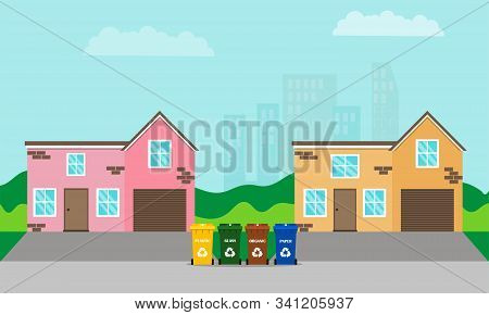 Separate garbage collection and waste sorting. Zero waste lifestyle. Containers for separate collection of garbage on the street near the houses. City view in the background. Flat style. stock photo