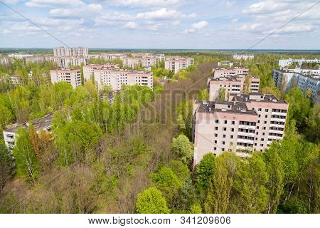Aerial view on residential area of abandoned Pripyat city in Chernobyl Exclusion Zone, Ukraine stock photo
