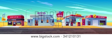 Roadside motel with parking, oil station, burger and coffee bar and car service. Index signboard show way to infrastructure and noctidial accommodation for traveling people cartoon illustration stock photo