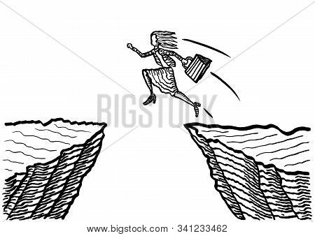 Freehand drawing of business woman taking a giant leap to jump across an abyss. Metaphor for courage, entrepreneurship, leadership, risk taking, career move, success, achievement, effort. stock photo