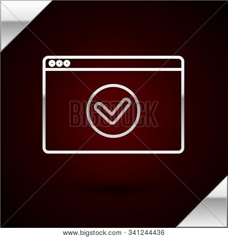 Silver line Secure your site with HTTPS, SSL icon isolated on dark red background. Internet communication protocol. Vector Illustration stock photo