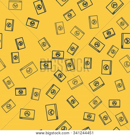 Blue line Secure your site with HTTPS, SSL icon isolated seamless pattern on yellow background. Internet communication protocol. Vector Illustration stock photo