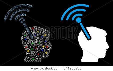 Glossy mesh radio neural interface icon with glare effect. Abstract illuminated model of radio neural interface. Shiny wire carcass triangular mesh radio neural interface icon. stock photo