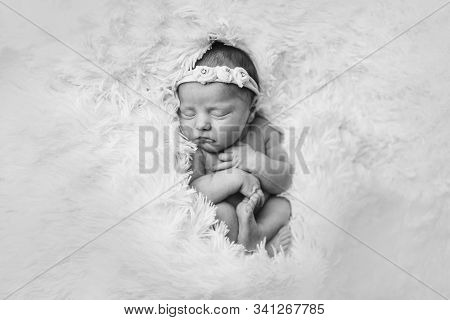 portrait of a sleeping newborn baby in a headband with flower. Health concept: IVF, baby accessories stock photo