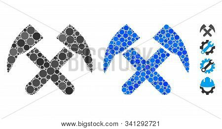 Job hammers composition of round dots in various sizes and color tinges, based on job hammers icon. Vector round dots are united into blue collage. Dotted job hammers icon in usual and blue versions. stock photo