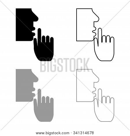 Keep silence concept Man shows index finger quietly Person closed his mouth Shut his lip Shh gesture Stop talk please theme Mute icon outline set black grey color vector illustration flat style simple image stock photo