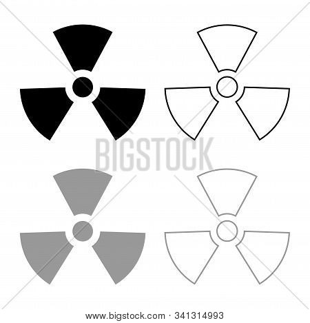Radioactivity Symbol Nuclear sign icon outline set black grey color vector illustration flat style simple image stock photo