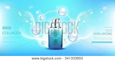 Hyaluronic acid collagen cosmetic bottle mockup. Beauty moisturize skin cosmetics product tube on blue background with molecules, sparkles and space for name brand, ad Realistic 3d illustration stock photo