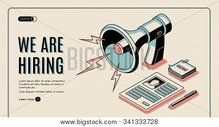 Hiring agency, job vacancies search online service isometric web banner, landing page template with job applicant, vacancy candidate resume or dossier page, loudspeaker line art illustration stock photo