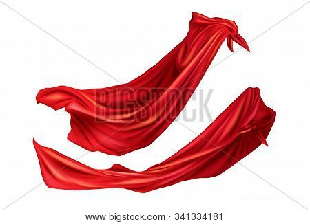 Red cloaks superhero costume with hoods set. Silk flattering capes side view on different positions isolated on white background. Carnival, masquerade dress 3d realistic illustration, clip art stock photo
