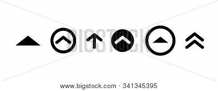 Swipe up insta story black icon. Scroll arrow drag button, social media interface action icon stock photo