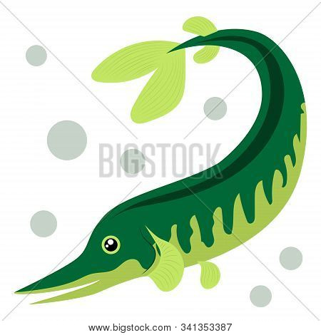 Cartoon fish. Pike. Vector illustration on a white background. Drawing for children. stock photo