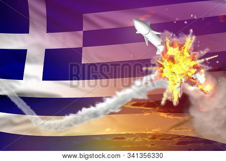 Strategic rocket destroyed in air, Greece nuclear missile protection concept - missile defense military industrial 3D illustration stock photo