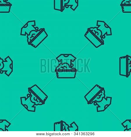 Blue line Plastic basin with soap suds icon isolated seamless pattern on green background. Bowl with water. Washing clothes, cleaning equipment. Vector Illustration stock photo