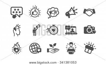 Brand ambassador icons. Influence people, Megaphone and Representative. Handshake, influencer marketing person, ambassador person icons. Classic set. Quality set. Vector stock photo