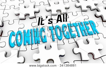 Its All Coming Together Into View Focus Puzzle Solution 3d Illustration stock photo