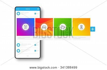 Sunny weather, Mini pc and Approved checklist line icons set. Interface carousel. Vacancy sign. Summer, Computer, Accepted message. Businessman concept. Business set. Social network post. Vector stock photo