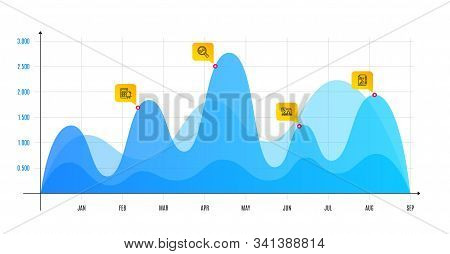 Analytics, Calculator alarm and Online loan line icons set. Infographic chart, financial data graphic. Report document sign. Audit analysis, Accounting, Discount percent. Growth chart. Vector stock photo