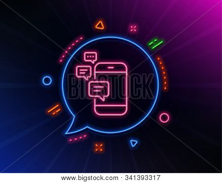Communication line icon. Neon laser lights. Smartphone chat symbol. Business messages sign. Glow laser speech bubble. Neon lights chat bubble. Banner badge with communication icon. Vector stock photo