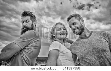 Ruined relationships. How deal with offended feelings. Girl stand between two men. Psychology of breakup. What do when you feel rejected. Couple and rejected partner. How get over breakup for guys stock photo