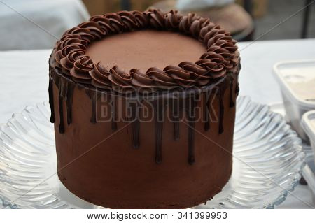 Chocolate Brown Fresh Cream Cake very delicious best for birthday and marriage anniversary stock photo