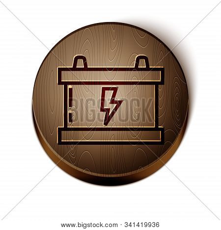 Brown line Car battery icon isolated on white background. Accumulator battery energy power and electricity accumulator battery. Lightning bolt. Wooden circle button. Vector Illustration stock photo