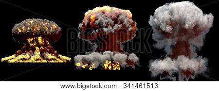 3 big different phases fire mushroom cloud explosion of thermonuclear bomb with smoke and flames isolated on black background - 3D illustration of explosion stock photo