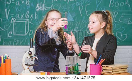Biology Science. Happy Little Girls. Little Girls In School Lab. Science Is Future. Chemistry Resear