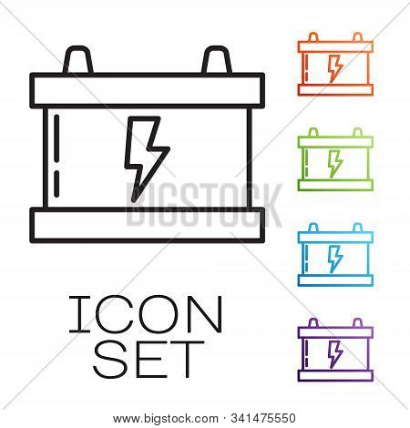 Black line Car battery icon isolated on white background. Accumulator battery energy power and electricity accumulator battery. Lightning bolt. Set icons colorful. Vector Illustration stock photo