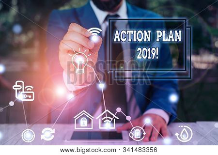 Word writing text Action Plan 2019. Business concept for proposed strategy or course of actions for current year. stock photo