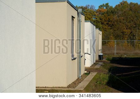 Emergency accommodation for refugees at the edge of the city of Magdeburg in Germany stock photo
