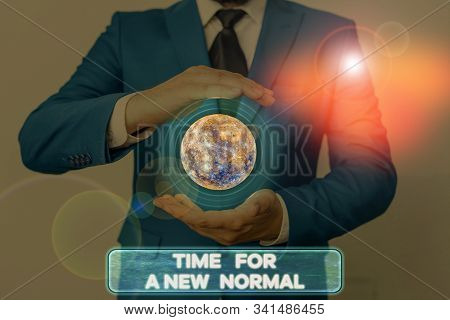 Word writing text Time For A New Normal. Business concept for Make a big dramatic change Replace the expected Elements of this image furnished by NASA. stock photo