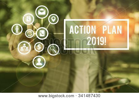 Handwriting text Action Plan 2019. Concept meaning proposed strategy or course of actions for current year. stock photo