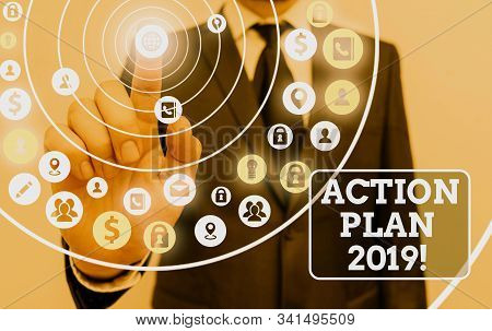 Text sign showing Action Plan 2019. Conceptual photo proposed strategy or course of actions for current year. stock photo