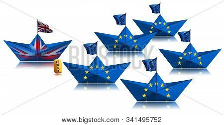 Brexit concept. One United Kingdom paper boat leaves the fleet of European Union. Isolated on white background, Photography stock photo
