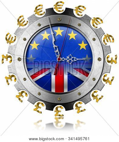 Brexit concept, 3D illustration. UK leaving the European Union. Clock with UE and English flag, Euro and pound sterling symbol. Isolated on white background stock photo
